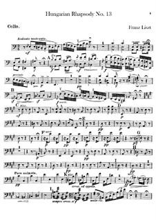 No.13 in A Minor, S.244: para orquestra - parte violoncelo by Franz Liszt