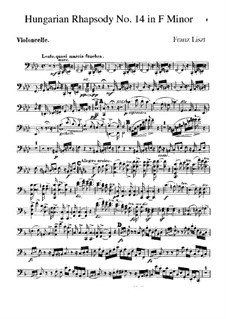 No.14 in F Minor, for Orchestra, S.359/1: parte violoncelo by Franz Liszt