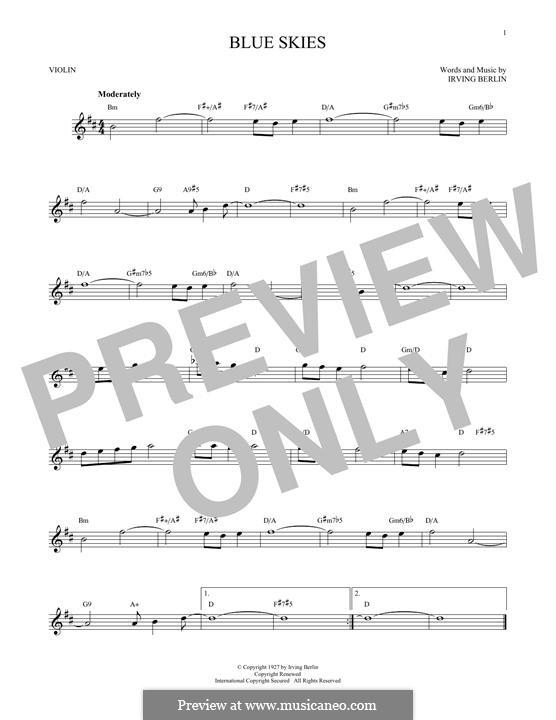 Blue Skies: para violino by Irving Berlin