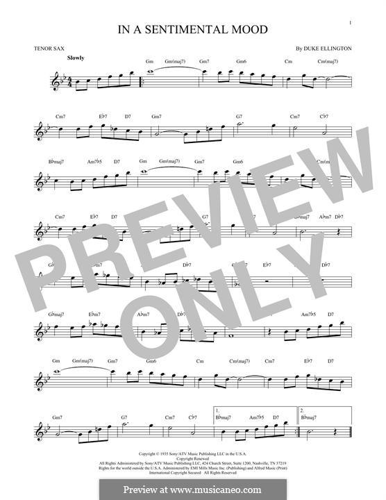 In a Sentimental Mood: para saxofone tenor by Irving Mills, Duke Ellington, Manny Kurtz