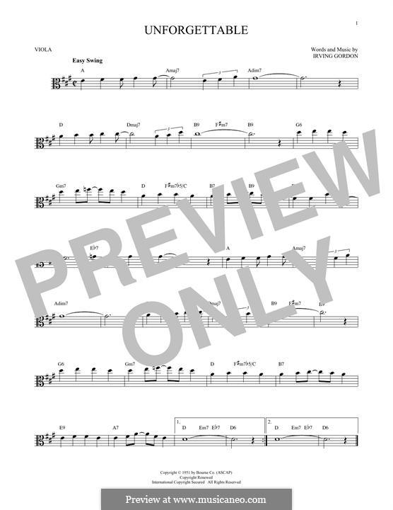 Unforgettable: para viola by Irving Gordon