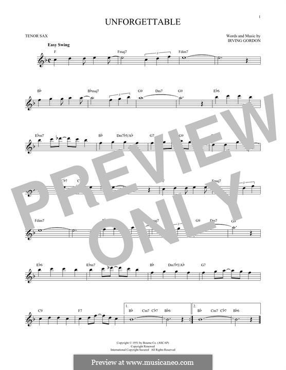 Unforgettable: para saxofone tenor by Irving Gordon