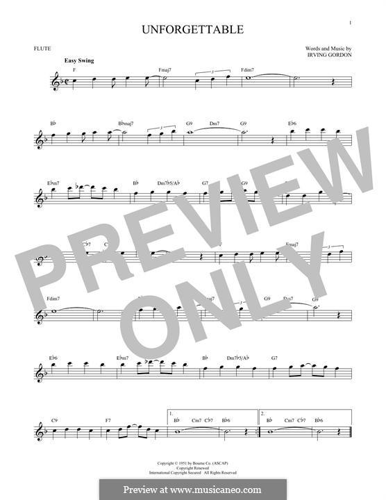 Unforgettable: para flauta by Irving Gordon