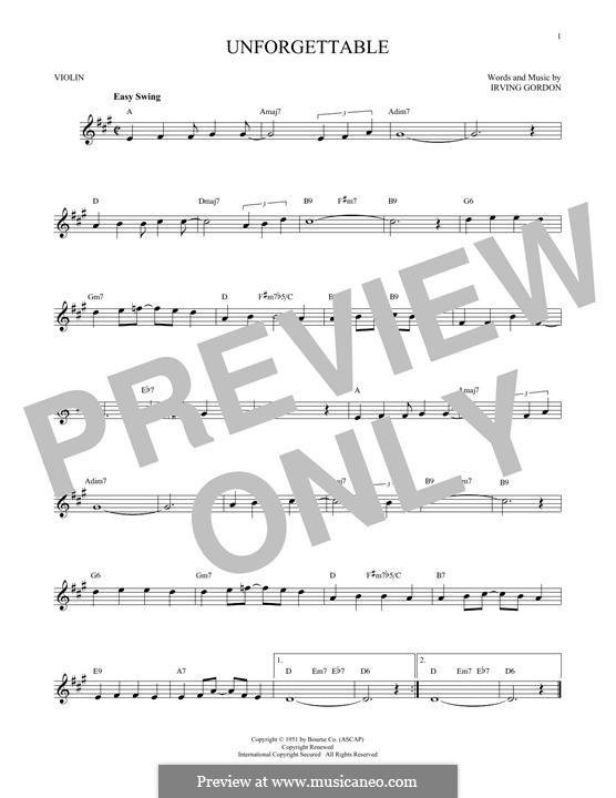 Unforgettable: para violino by Irving Gordon