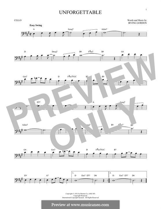 Unforgettable: para violoncelo by Irving Gordon