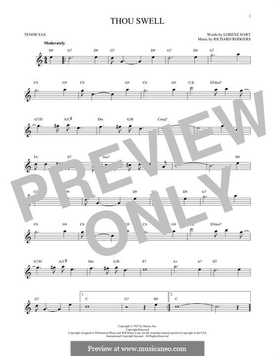 Thou Swell: para saxofone tenor by Richard Rodgers