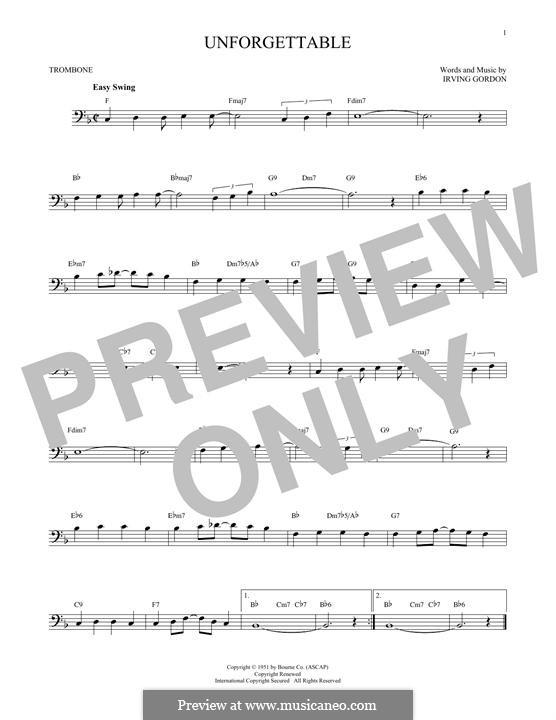 Unforgettable: para trombone by Irving Gordon