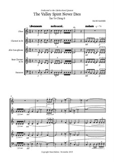 The Valley Spirit Never Dies: For reed quintet by Hans Bakker