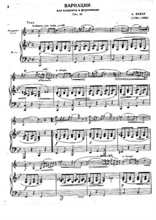Variations on Theme from 'Silvana' for Clarinet and Piano, J.128 Op.33: Score by Carl Maria von Weber