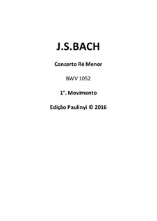 Concerto for Harpsichord and Strings No.1 in D Minor , BWV 1052: Violin solo complete part for performance by Johann Sebastian Bach