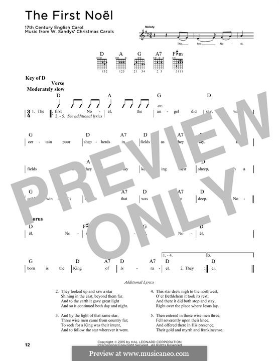 The First Nowell (The First Noël), Printable scores: Para guitarra com guia by folklore