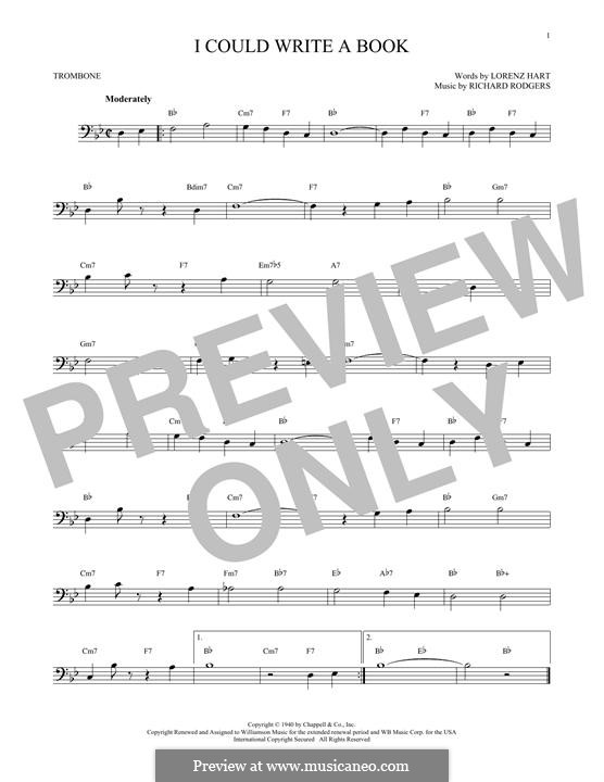 I Could Write a Book: para trombone by Richard Rodgers