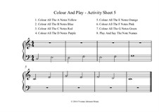 Colour And Play - 4 Activity Sheets In C Major 5 Finger Position: Colour And Play - 4 Activity Sheets In C Major 5 Finger Position by Yvonne Johnson