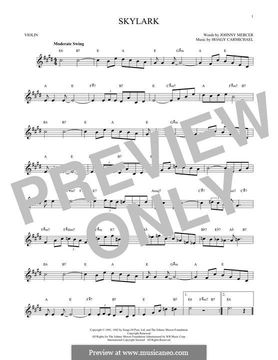 Skylark: para violino by Hoagy Carmichael