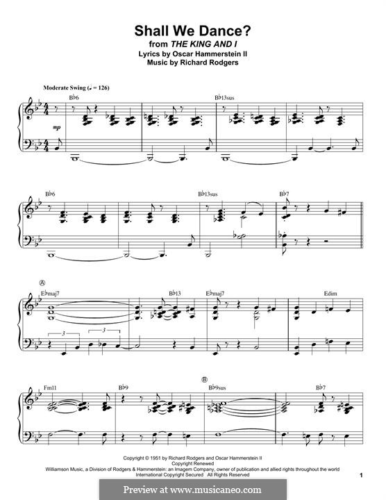 Shall We Dance? (from The King and I): Para Piano by Richard Rodgers
