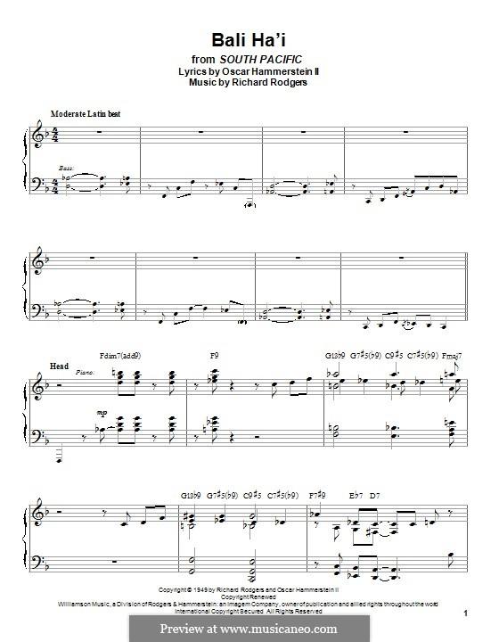 Bali Ha'i: Para Piano by Richard Rodgers