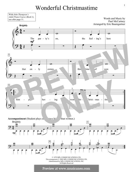Wonderful Christmastime: Para Piano by Paul McCartney