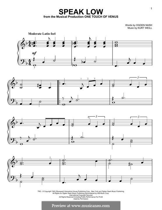 Speak Low: Para Piano by Kurt Weill