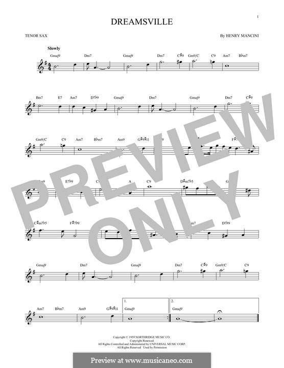 Dreamsville: para saxofone tenor by Henry Mancini
