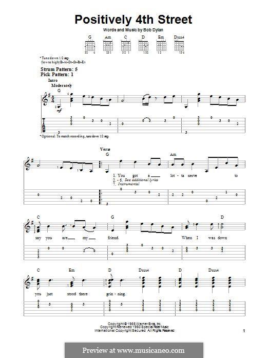 Positively 4th Street: Para guitarra com guia by Bob Dylan