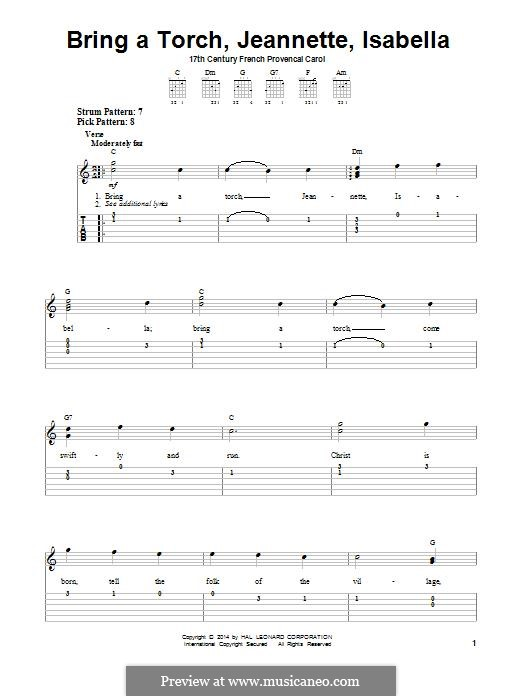 Bring a Torch, Jeannette Isabella: Para Guitarra by folklore