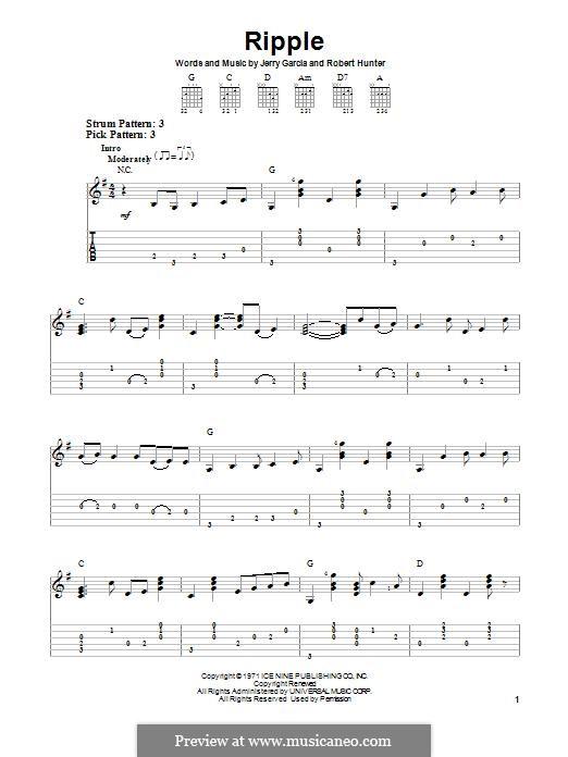 Ripple (The Grateful Dead): Para guitarra com guia by Jerry Garcia, Robert Hunter