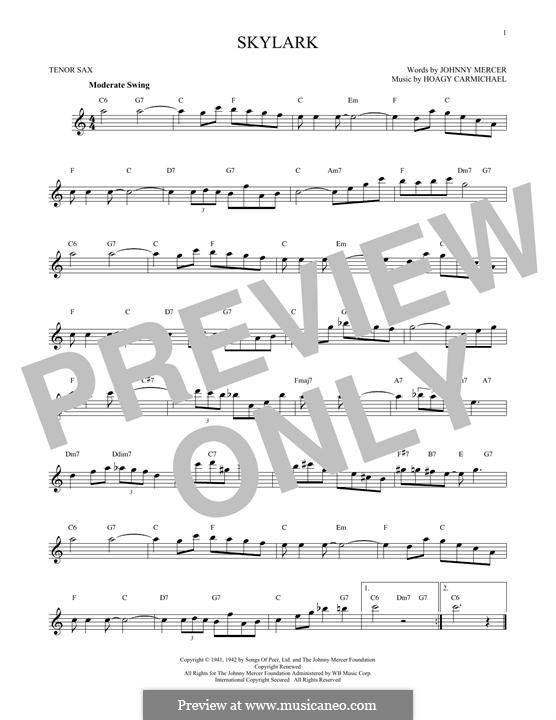 Skylark: para saxofone tenor by Hoagy Carmichael
