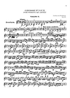 Grand Fugue in B Flat Major for String Quartet, Op.133: violino parte II by Ludwig van Beethoven