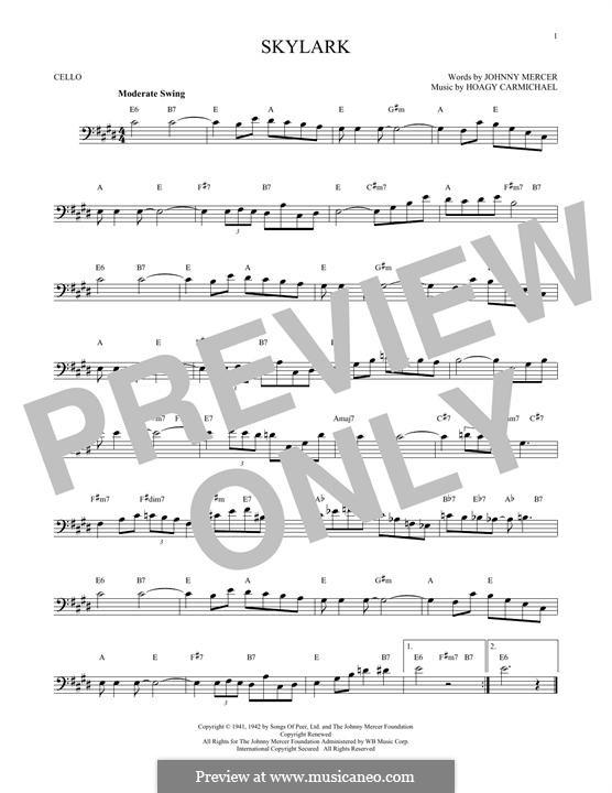 Skylark: para violoncelo by Hoagy Carmichael