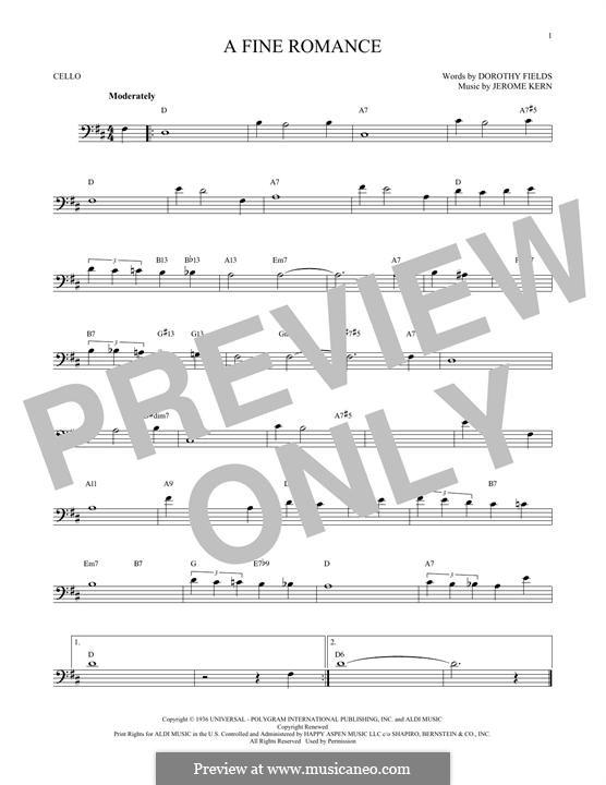 A Fine Romance: para violoncelo by Jerome Kern