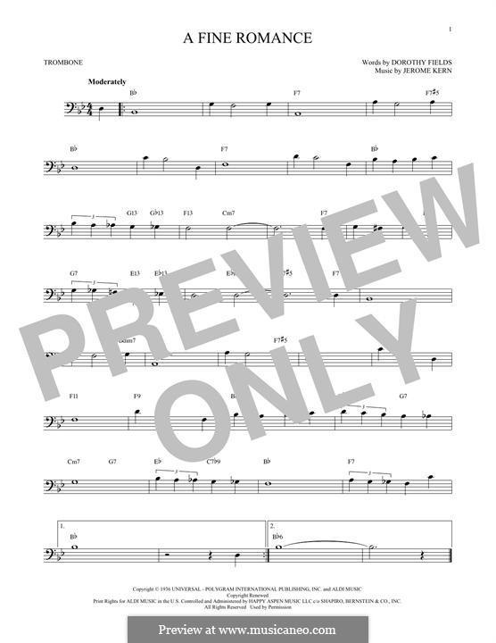 A Fine Romance: para trombone by Jerome Kern