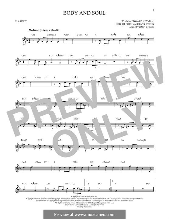 Body and Soul: para clarinete by John W. Green