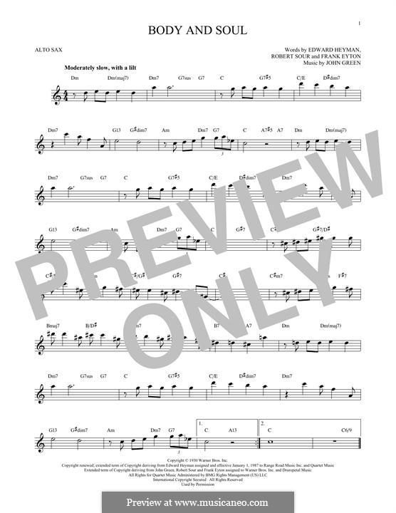 Body and Soul: para Saxofone Alto by John W. Green