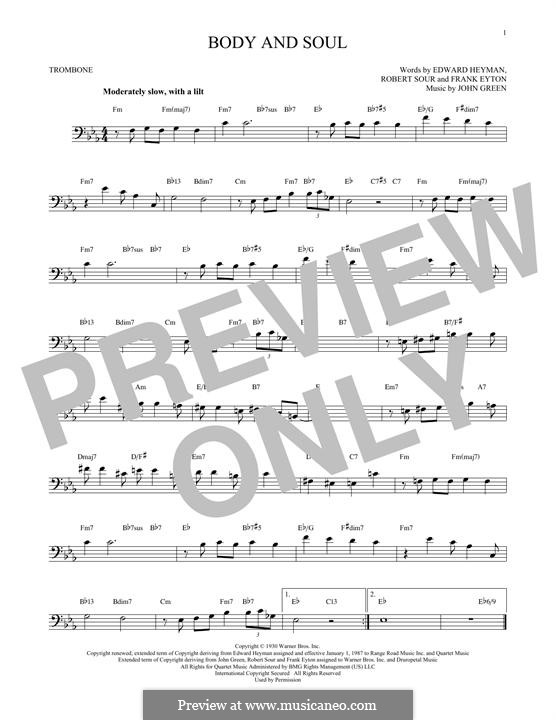 Body and Soul: para trombone by John W. Green