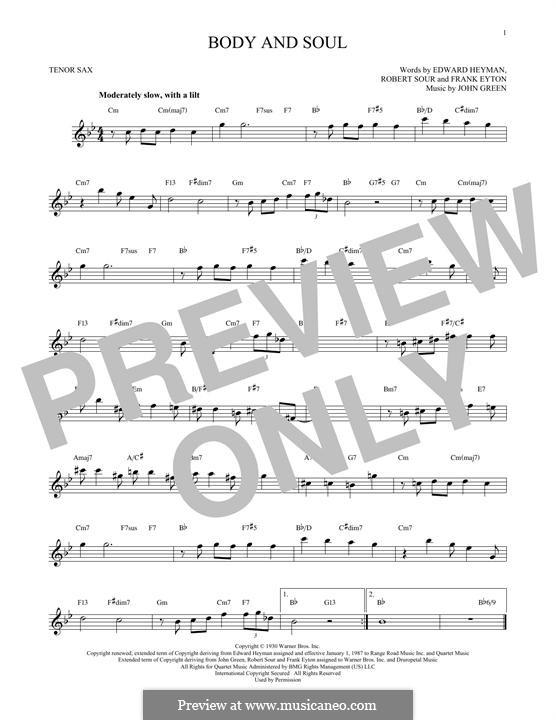 Body and Soul: para saxofone tenor by John W. Green