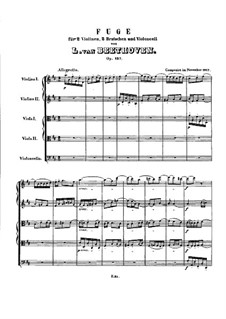 Fugue for String Quintet in D Major, Op.137: Partitura completa by Ludwig van Beethoven
