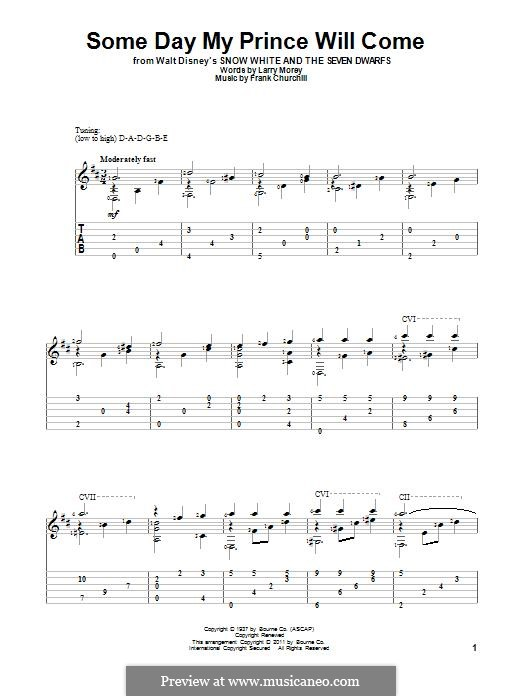Some Day My Prince Will Come (from Snow White and The Seven Dwarfs): Para guitarra com guia by Frank Churchill