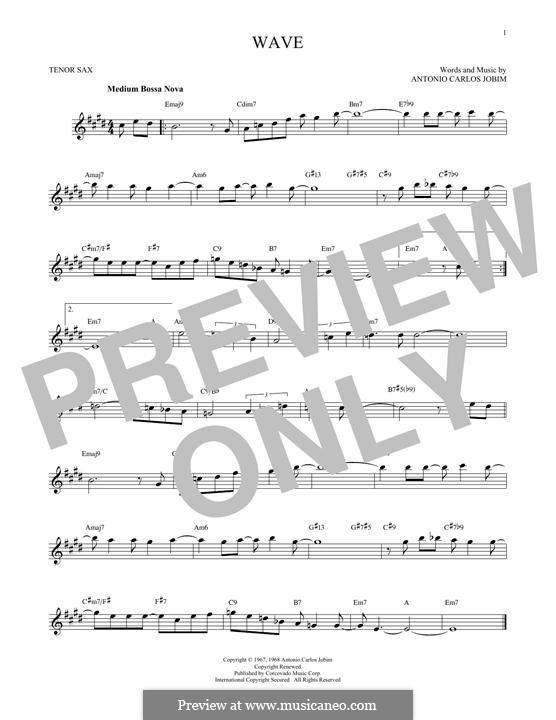Wave: para saxofone tenor by Antonio Carlos Jobim