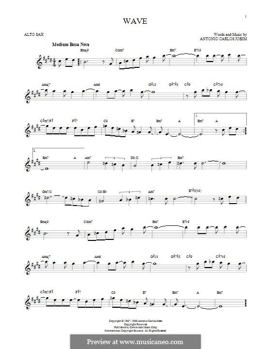 Wave: para Saxofone Alto by Antonio Carlos Jobim
