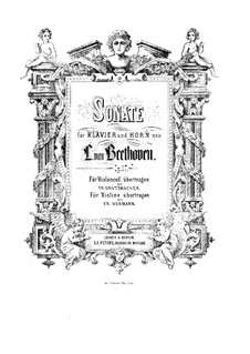Sonata for French Horn and Piano, Op.17: Score by Ludwig van Beethoven