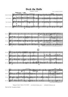 Deck the Hall: para quarteto de saxofone by folklore