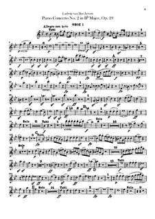 Concerto for Piano and Orchestra No.2, Op.19: parte de oboes by Ludwig van Beethoven