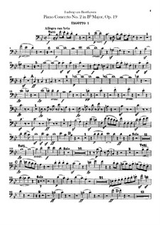 Concerto for Piano and Orchestra No.2, Op.19: parte fagotes by Ludwig van Beethoven
