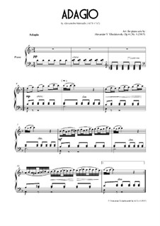 Concerto for Oboe and Stings in D Minor, Op.2: Adagio. Arrangement for piano, Ор.41 No.6 by Alessandro Marcello