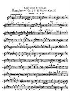 Symphony No.2, Op.36: parte clarinetas by Ludwig van Beethoven