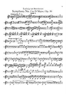 Symphony No.2, Op.36: parte de oboes by Ludwig van Beethoven