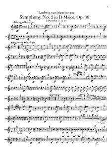Symphony No.2, Op.36: parte trompetas by Ludwig van Beethoven