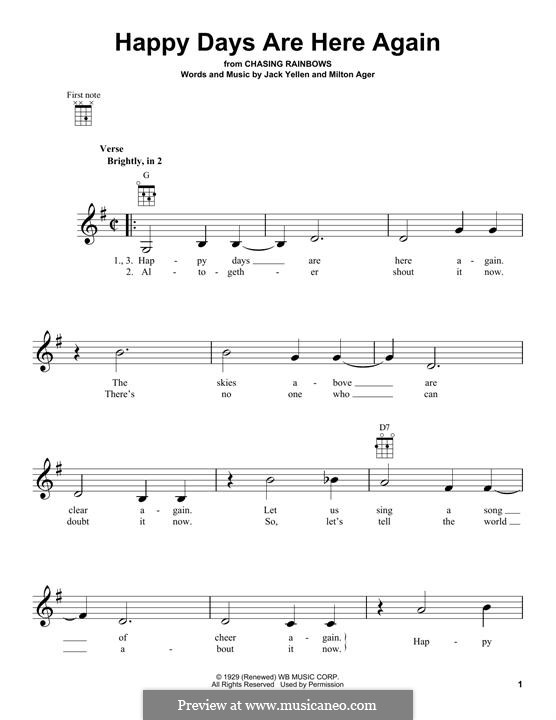 Happy Days Are Here Again (Jack Yellen): para ukulele by Milton Ager