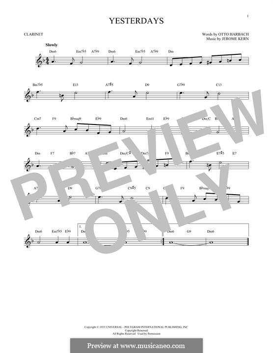 Yesterdays: para clarinete by Jerome Kern