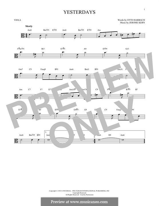 Yesterdays: para viola by Jerome Kern